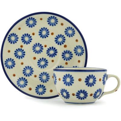 Polish Pottery 4 oz Cup with Saucer | Boleslawiec Stoneware | Polmedia H1695H