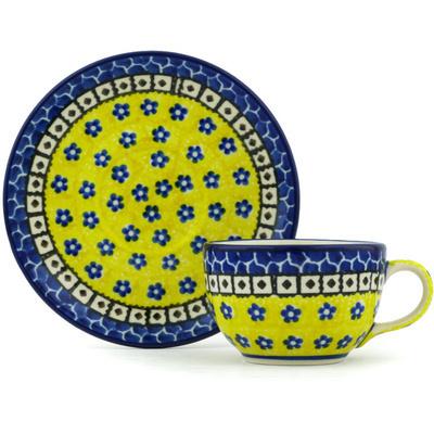 Polish Pottery 4 oz Cup with Saucer | Boleslawiec Stoneware | Polmedia H2525H