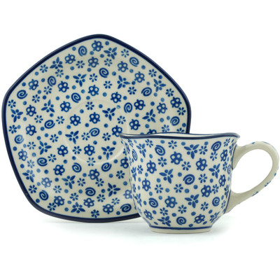 Polish Pottery 8 oz Cup with Saucer | Boleslawiec Stoneware | Polmedia H3850B