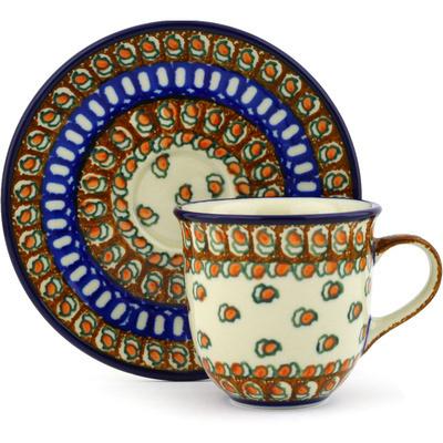 Polish Pottery 7 oz Cup with Saucer | Boleslawiec Stoneware | Polmedia H3847F