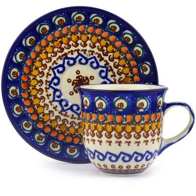 Polish Pottery 7 oz Cup with Saucer | Boleslawiec Stoneware | Polmedia H4133F