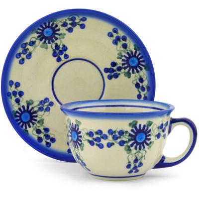 Polish Pottery 7 oz Cup with Saucer | Boleslawiec Stoneware | Polmedia H7563F
