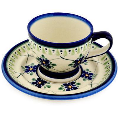 Polish Pottery 7 oz Cup with Saucer | Boleslawiec Stoneware | Polmedia H8234C