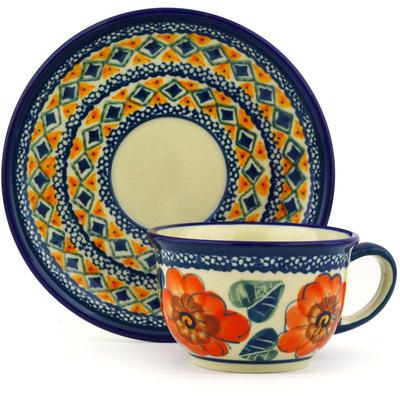 Polish Pottery 5 oz Cup with Saucer | Boleslawiec Stoneware | Polmedia H0453F