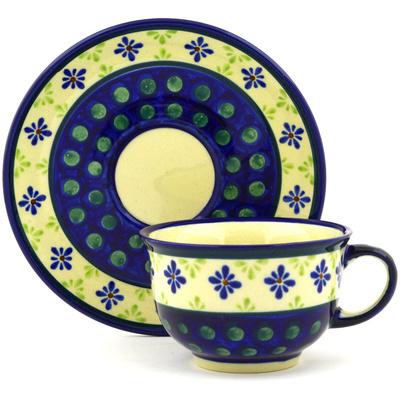 Polish Pottery 7 oz Cup with Saucer | Boleslawiec Stoneware | Polmedia H3218D