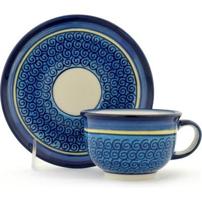 Polish Pottery 7 oz Cup with Saucer | Boleslawiec Stoneware | Polmedia H0638A