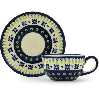 Polish Pottery 8 oz Cup with Saucer | Boleslawiec Stoneware | Polmedia H0939G