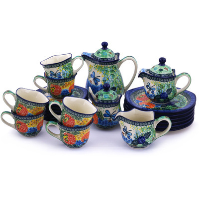 Polish Pottery 29 oz Dessert Set for 6 | Boleslawiec Stoneware | Polmedia H9306G