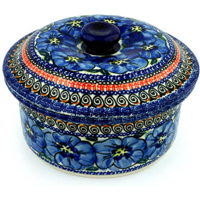 Polish Pottery 8-inch Dish with Cover | Boleslawiec Stoneware | Polmedia H8857B