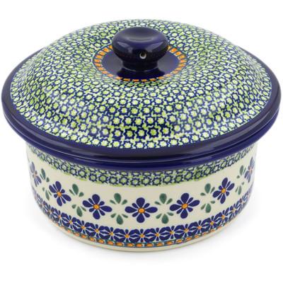 Polish Pottery 8-inch Dish with Cover | Boleslawiec Stoneware | Polmedia H5124D