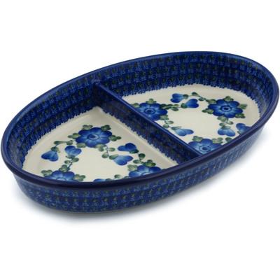 Polish Pottery 11-inch Divided Dish | Boleslawiec Stoneware | Polmedia H3940A