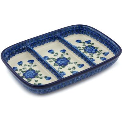 Polish Pottery 10-inch Divided Dish | Boleslawiec Stoneware | Polmedia H5538A