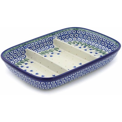 Polish Pottery 10-inch Divided Dish | Boleslawiec Stoneware | Polmedia H0547B