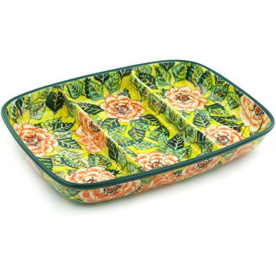 Polish Pottery 13-inch Divided Dish | Boleslawiec Stoneware | Polmedia H4863H