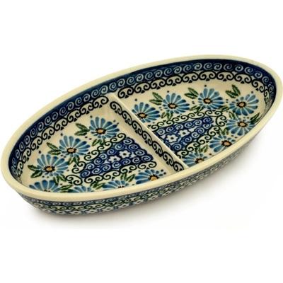 Polish Pottery 9-inch Divided Dish | Boleslawiec Stoneware | Polmedia H5564A