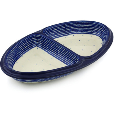 Polish Pottery 11-inch Divided Dish | Boleslawiec Stoneware | Polmedia H2455H