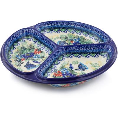 Polish Pottery 10-inch Divided Dish | Boleslawiec Stoneware | Polmedia H5548I