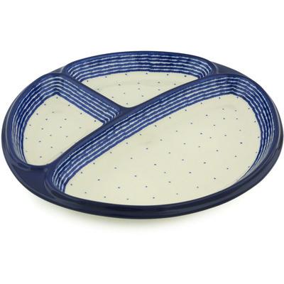 Polish Pottery 11-inch Divided Dish | Boleslawiec Stoneware | Polmedia H1987H