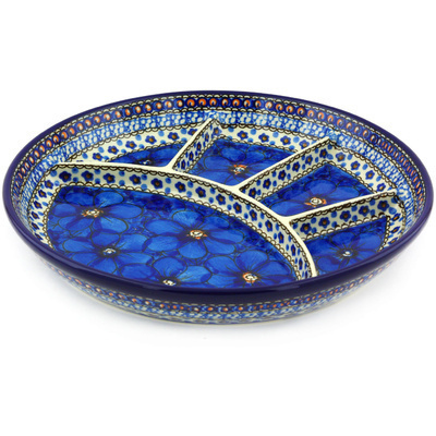 Polish Pottery 11-inch Divided Dish | Boleslawiec Stoneware | Polmedia H3192G