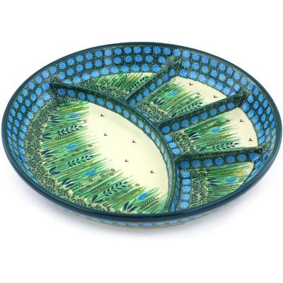 Polish Pottery 11-inch Divided Dish | Boleslawiec Stoneware | Polmedia H4482G
