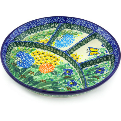 Polish Pottery 9-inch Divided Dish | Boleslawiec Stoneware | Polmedia H4723G