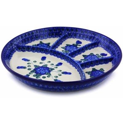 Polish Pottery 9-inch Divided Dish | Boleslawiec Stoneware | Polmedia H6175A
