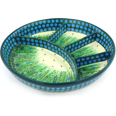 Polish Pottery 11-inch Divided Dish | Boleslawiec Stoneware | Polmedia H5371G