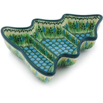 Polish Pottery 8-inch Divided Dish | Boleslawiec Stoneware | Polmedia H6444G