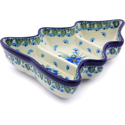 Polish Pottery 8-inch Divided Dish | Boleslawiec Stoneware | Polmedia H0882I