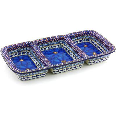 Polish Pottery 16-inch Divided Dish | Boleslawiec Stoneware | Polmedia H4141G