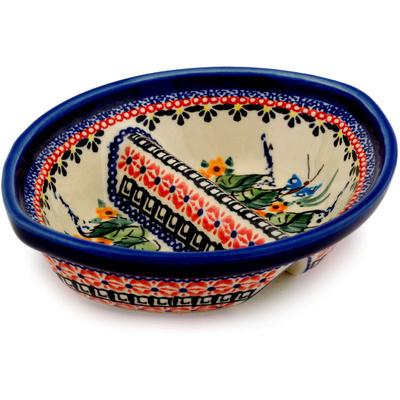 Polish Pottery 7-inch Divided Dish | Boleslawiec Stoneware | Polmedia H9755C