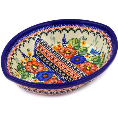Polish Pottery 8-inch Divided Dish | Boleslawiec Stoneware | Polmedia H1075E
