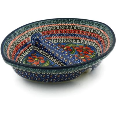 Polish Pottery 8-inch Divided Dish | Boleslawiec Stoneware | Polmedia H6375C