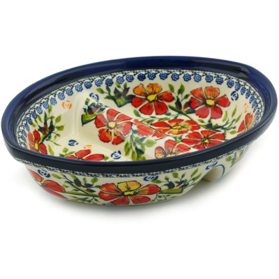 Polish Pottery 8-inch Divided Dish   Boleslawiec Stoneware   Polmedia H4857I