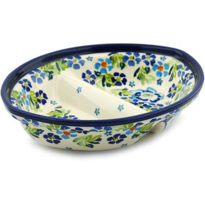 Polish Pottery 8-inch Divided Dish | Boleslawiec Stoneware | Polmedia H4856I