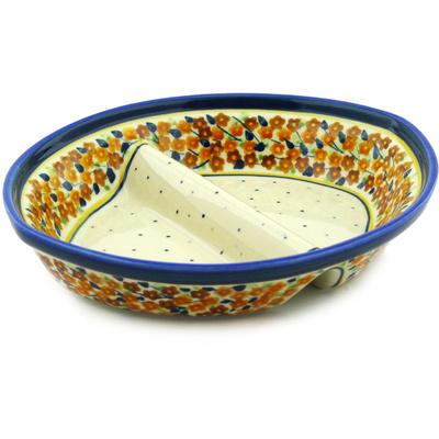 Polish Pottery 9-inch Divided Dish | Boleslawiec Stoneware | Polmedia H0482F
