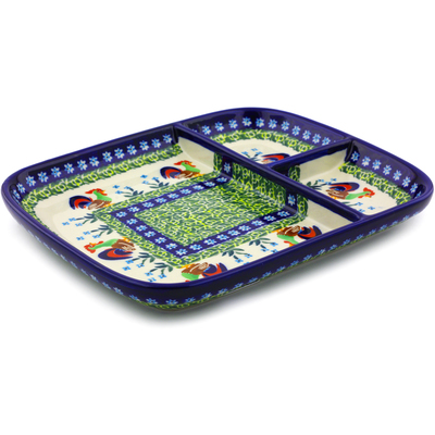 Polish Pottery 10-inch Divided Dish | Boleslawiec Stoneware | Polmedia H8145I