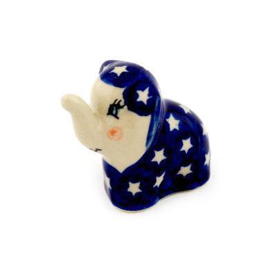 Polish Pottery 2-inch Elephant Figurine | Boleslawiec Stoneware | Polmedia H8160C