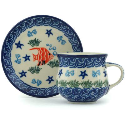 Polish Pottery 3 oz Espresso Cup with Saucer | Boleslawiec Stoneware | Polmedia H6836H