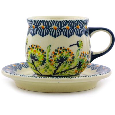 Polish Pottery 3 oz Espresso Cup with Saucer | Boleslawiec Stoneware | Polmedia H8035I