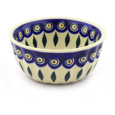 Polish Pottery 5-inch Fluted Bowl | Boleslawiec Stoneware | Polmedia H2387F