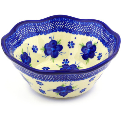 Polish Pottery 7-inch Fluted Bowl   Boleslawiec Stoneware   Polmedia H6355F