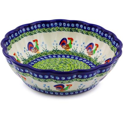 Polish Pottery 10-inch Fluted Bowl | Boleslawiec Stoneware | Polmedia H8052I