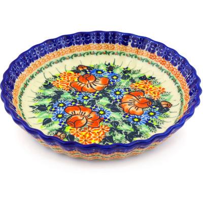 Polish Pottery 10-inch Fluted Pie Dish | Boleslawiec Stoneware | Polmedia H2094G