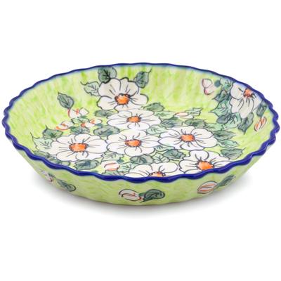 Polish Pottery 10-inch Fluted Pie Dish | Boleslawiec Stoneware | Polmedia H2292J