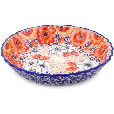 Polish Pottery 10-inch Fluted Pie Dish | Boleslawiec Stoneware | Polmedia H2287J