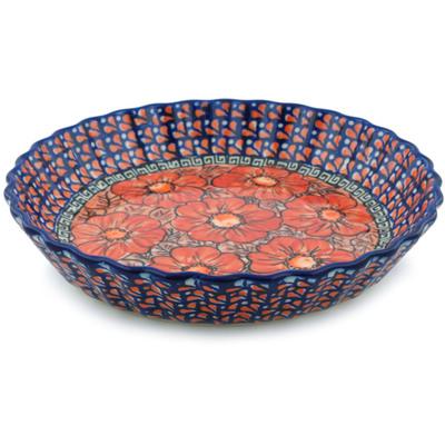 Polish Pottery 10-inch Fluted Pie Dish | Boleslawiec Stoneware | Polmedia H4455E