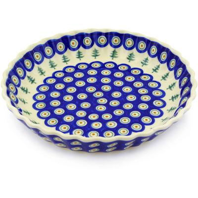 Polish Pottery 10-inch Fluted Pie Dish | Boleslawiec Stoneware | Polmedia H8725E