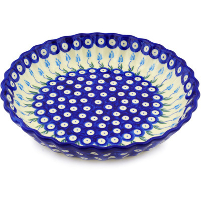 Polish Pottery 10-inch Fluted Pie Dish   Boleslawiec Stoneware   Polmedia H0851F