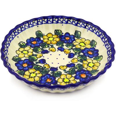 Polish Pottery 10-inch Fluted Pie Dish | Boleslawiec Stoneware | Polmedia H1688G